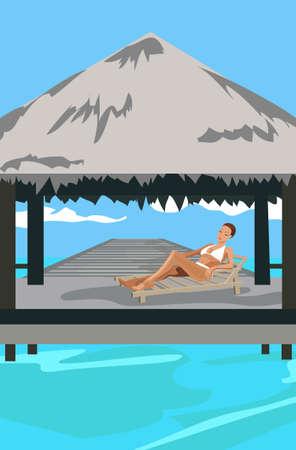 Illustration of a woman at Maldives island resort Vector