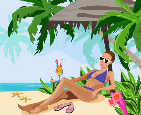 Illustration of a woman chilling out on the beach