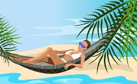 caribbean beach: Illustration of a woman chilling out on the beach