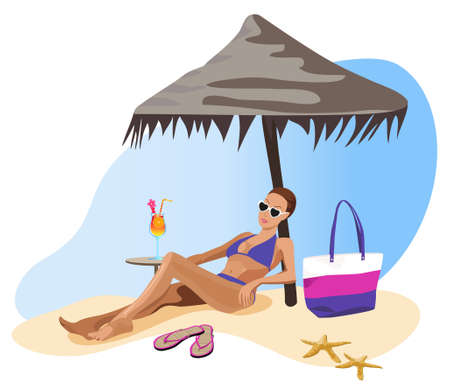 chilling: Illustration of a woman chilling out on the beach