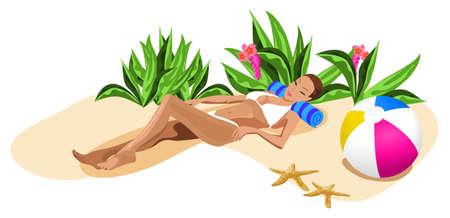 chilling out: Ilustraci�n de una mujer fuera de refrigeraci�n en la playa