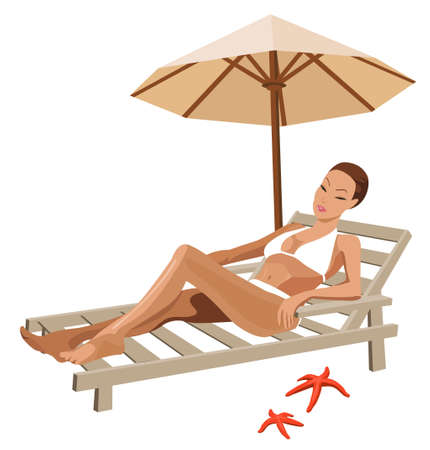 chilling out: Illustration of a woman chilling out on the beach