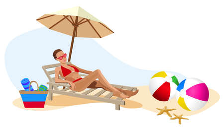 Illustration of a woman chilling out on the beach Stock Vector - 9944120