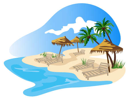 island clipart: Tropical beach illustration isolated on white background  Illustration