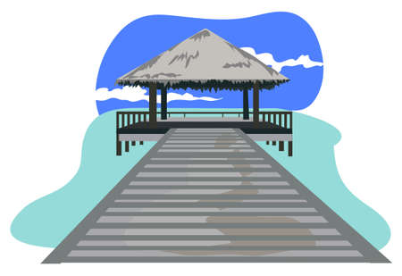 Maldives island resort illustration isolated on white background  Stock Vector - 9931358