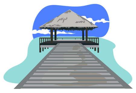 Maldives island resort illustration isolated on white background