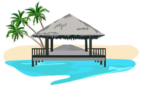 bungalows: Maldives island resort illustration isolated on white background  Illustration