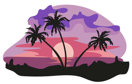 Tropical landscape illustration isolated on white background  Vector