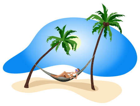 Illustration of a woman on vacation at the tropics  Vector