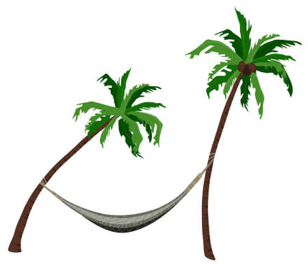 Palm trees with a hammock isolated on white  Vector