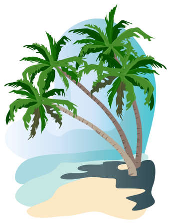 Tropical landscape illustration isolated on white background