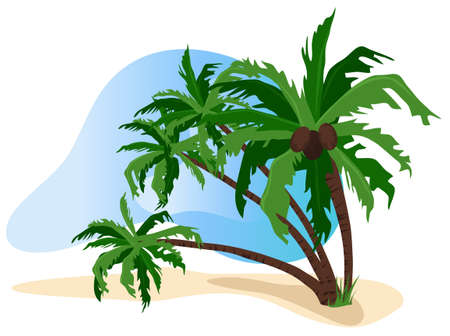 Tropical landscape illustration isolated on white background Stock Vector - 9944112