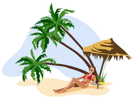 Illustration of a woman on vacation at the tropics Stock Vector - 9944123