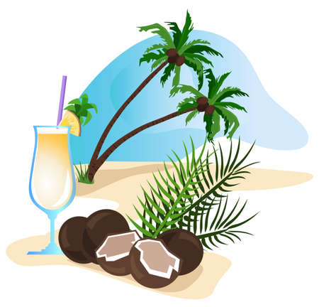 Exotic drink and coconut isolated on white background