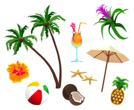 sunshades: Tropical themed objects isolated on white background