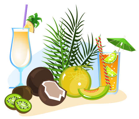 chill out: Exotic drinks and fruits isolated on white background  Illustration