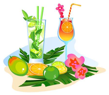 pi�as: Bebidas ex�ticas y frutas aisladas sobre fondo blanco