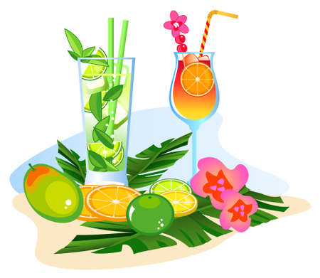Exotic drinks and fruits isolated on white background  Illustration