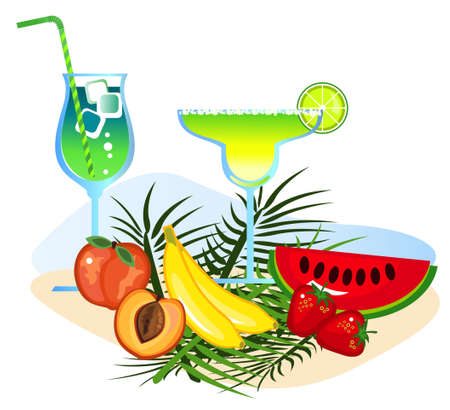 Exotic drinks and fruits isolated on white background Stock Vector - 9944116