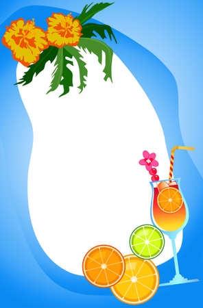 citrus tree: Ilustraci�n de fondo con bebidas ex�ticas y frutas  Vectores