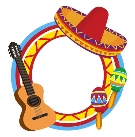 sombrero de charro: Marco con símbolos mexicanos