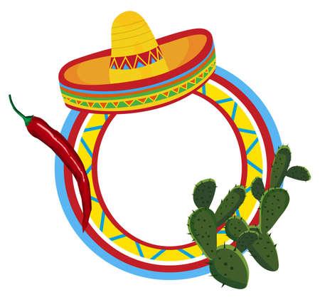 mexican sombrero: Telaio con simboli messicani