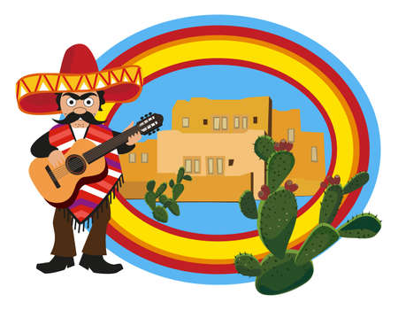 mariachi: Mexicaanse gitaar spelen Stock Illustratie