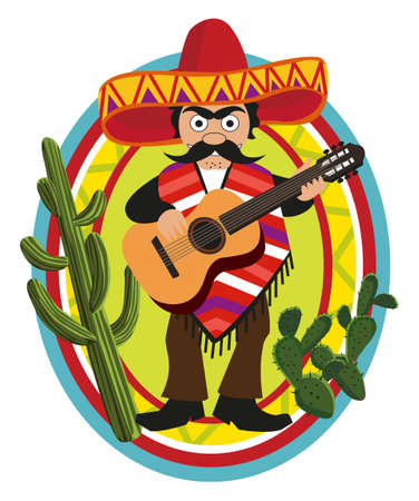 mexican sombrero: Mexican playing Guitar Illustration