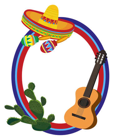 mexican sombrero: Frame with Mexican Symbols Illustration
