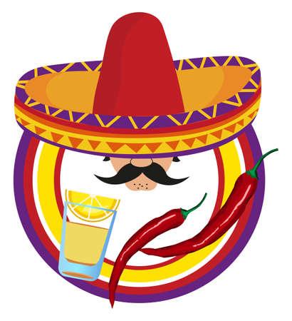 sombrero de charro: Marco con un mexicano y s�mbolos de M�xico Vectores