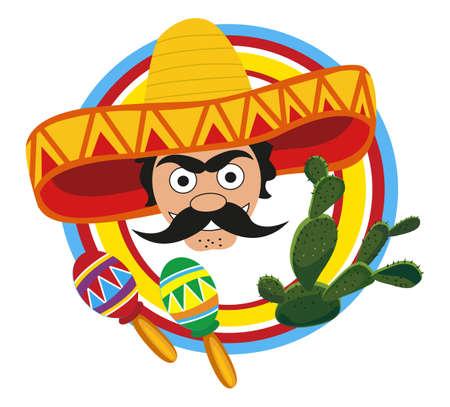 sombrero: Frame met een Mexicaanse en symbolen van Mexico