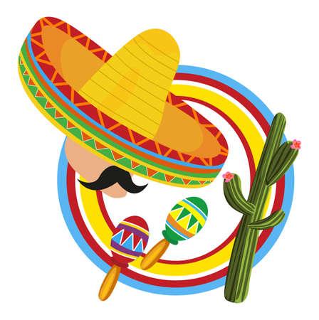 mexican sombrero: Telaio con un messicano e simboli del Messico