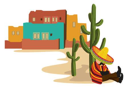 mexican sombrero: Messicana Sonnecchiando Vettoriali