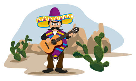 latin americans: Mexican playing Guitar Illustration