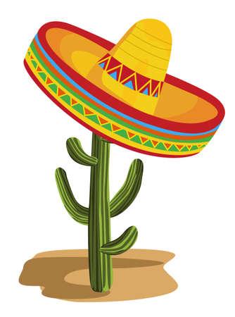 mexican sombrero: Sombrero su Cactus