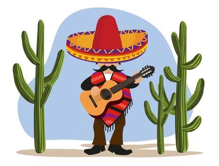 mexican sombrero: Suonare la chitarra messicana Vettoriali
