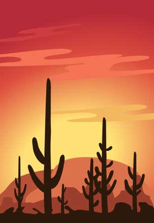Cactus and Desert Vector