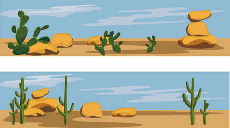 desierto: Cactus y desierto Vectores