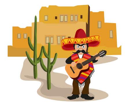 ispanico: Villaggio messicano Vettoriali