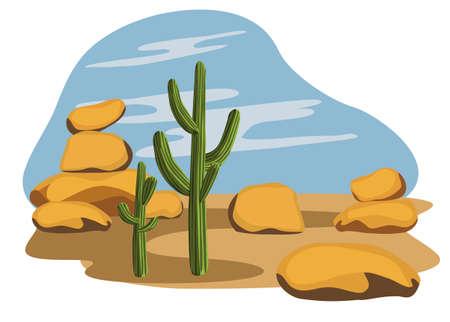 Cactus en Desert Vector Illustratie
