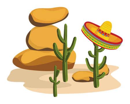 Sombrero on Cactus  Vector