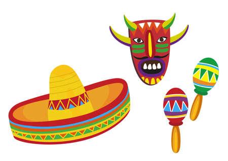 mariachi: Mexicaanse Symbolen Stock Illustratie
