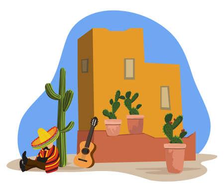 poncho: Pueblo mexicano
