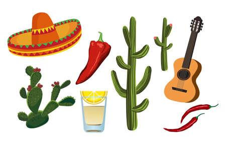 sombrero de charro: Símbolos mexicanos Vectores