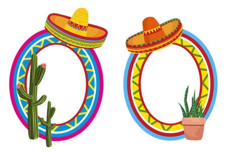 sombrero de charro: Mexicanos marcos Vectores