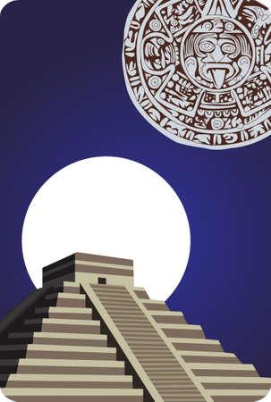 hieroglieven: Achtergrond illustratie met antieke Maya Piramide