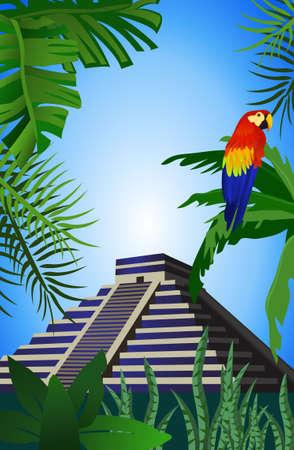 파멸: 고대 마야 피라미드 배경 그림 일러스트