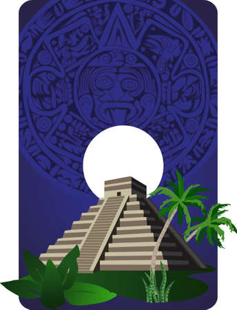Background illustration with antique Mayan Pyramid  Vector