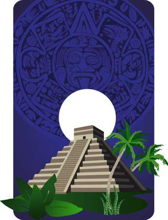 chichen: Background illustration with antique Mayan Pyramid