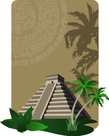 Background illustration with antique Mayan Pyramid